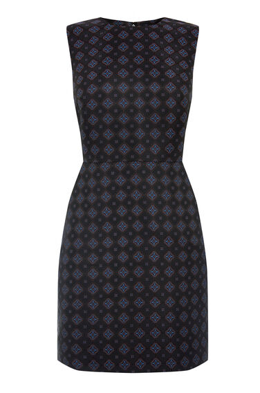 Warehouse, TILE JACQUARD DRESS Navy 0