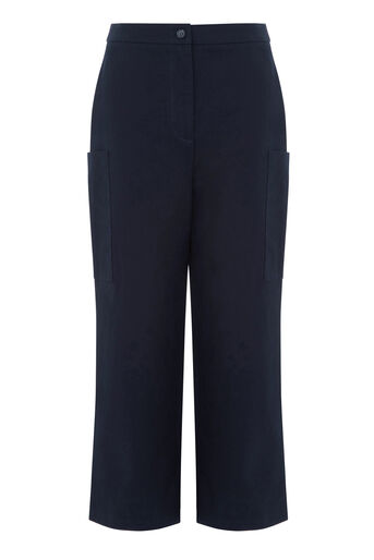 Warehouse, WIDE LEG CROPPED TROUSERS Navy 0