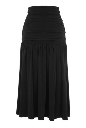 Warehouse, SLINKY RUCHED MIDI SKIRT Black 0