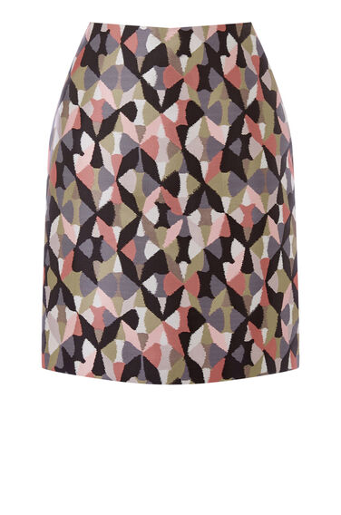 Warehouse, DIAMOND IKAT PELMET SKIRT Pink Pattern 0