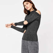 Warehouse, SLASH SLEEVE RIB JUMPER Dark Grey 1