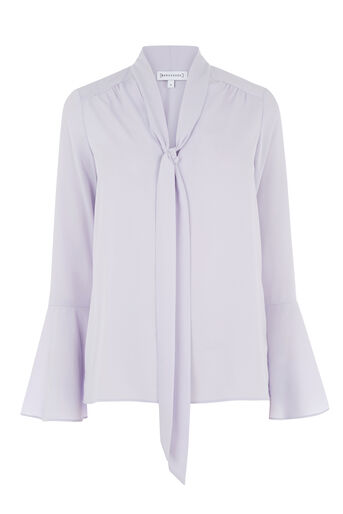Warehouse, TIE NECK BLOUSE Lilac 0