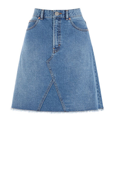 Warehouse, Reconstructed Denim Skirt Mid Wash Denim 0