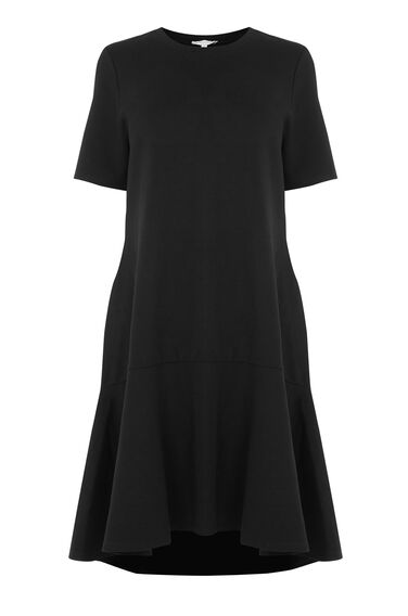 Warehouse, Flippy Hem Ponte Dress Black 0