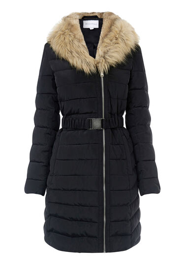 Warehouse, Long Asymmetric Padded Coat Black 0