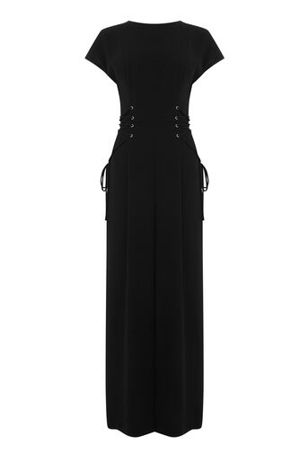 Warehouse, CORSET DETAIL JUMPSUIT Black 0