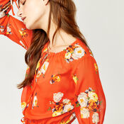 Warehouse, VICTORIA FLORAL CHIFFON DRESS Orange 4