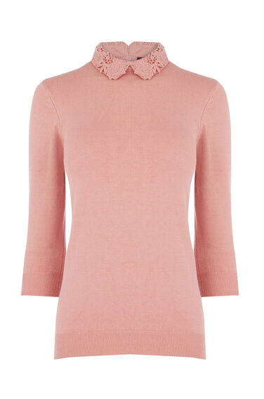Warehouse, LACE COLLAR DETAIL JUMPER Light Pink 0