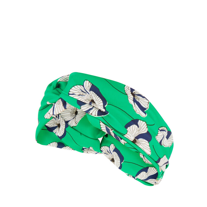 Warehouse, FLOATING FLORAL HEADBAND Green Print 1