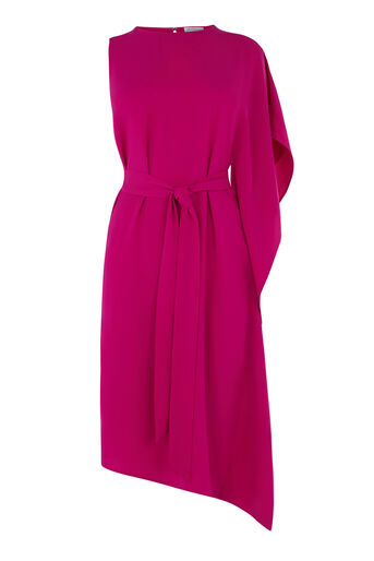 Warehouse, ASYMMETRIC RUFFLE DRESS Bright Pink 0