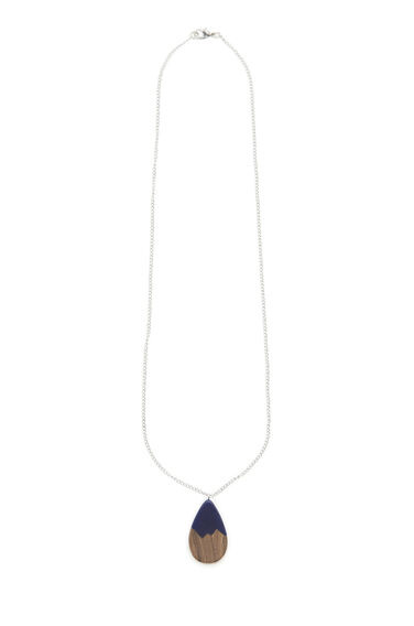 Warehouse, WOOD TEAR DROP NECKLACE Navy 0