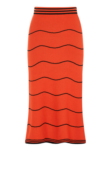Warehouse, WAVY STRIPE MIDI SKIRT Red Stripe 0