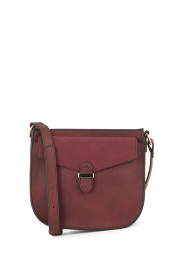 Warehouse, POCKET DETAIL SADDLE CROSSBODY Berry 0