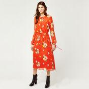 Warehouse, VICTORIA FLORAL CHIFFON DRESS Orange 1