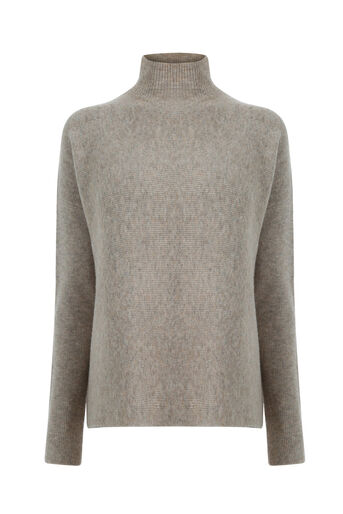 Warehouse, RIBBED BOXY TURTLE NECK JUMPER Beige 0