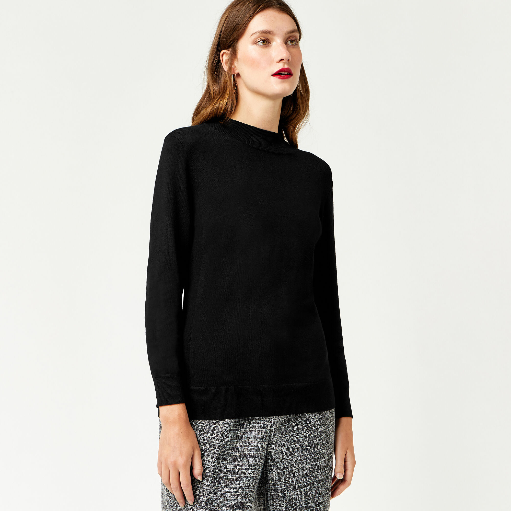 Warehouse, FUNNEL NECK JUMPER Black 1