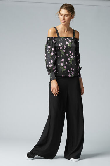 Warehouse, CREPE WIDE LEG TROUSERS Black 1