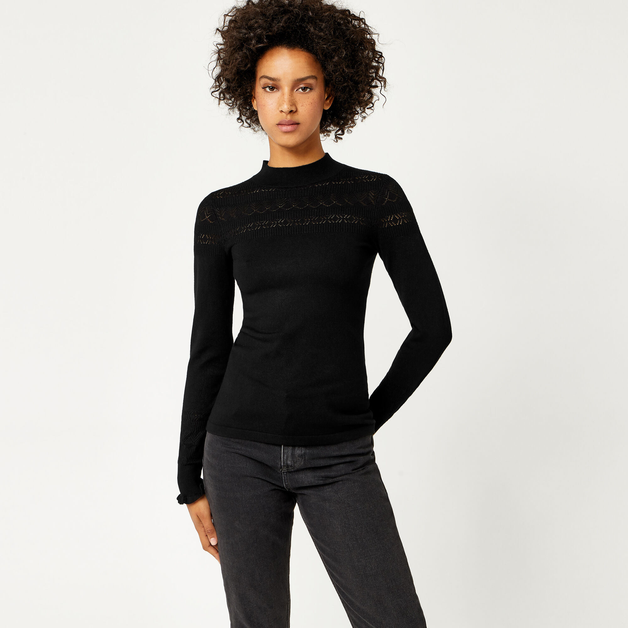 Warehouse, POINTELLE HIGH NECK JUMPER Black 1
