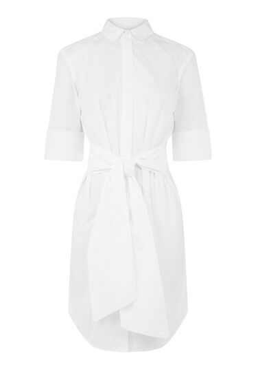 Warehouse, BELTED COTTON SHIRT DRESS White 0