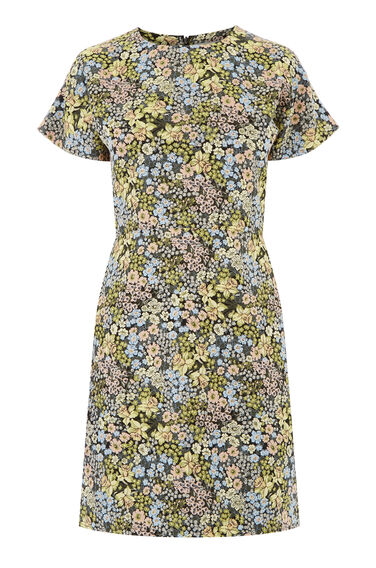 Warehouse, DAFFODIL JACQUARD DRESS Multi 0