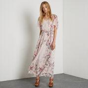 Warehouse, Silk Placement Bird Maxi Dress Multi 2