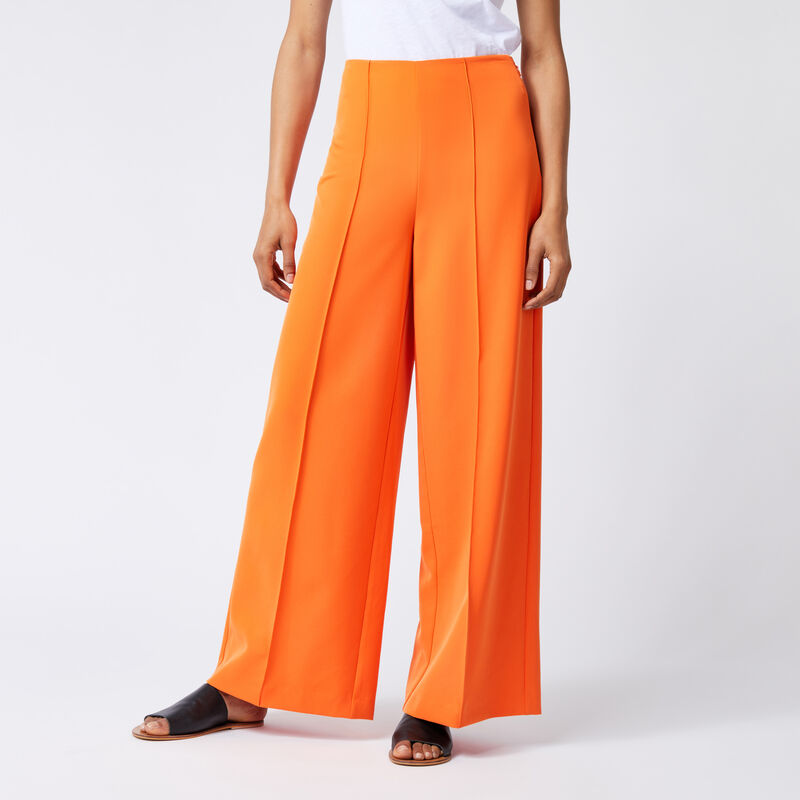 Warehouse, PINTUCK WIDE LEG TROUSERS Orange 1