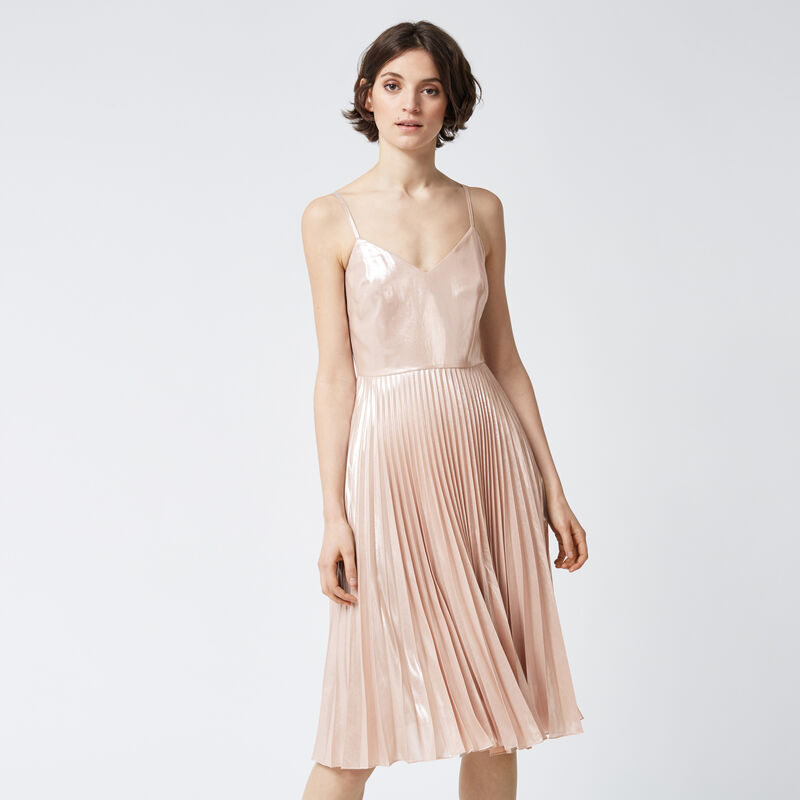 Warehouse, FOIL PLEATED DRESS Light Pink 1
