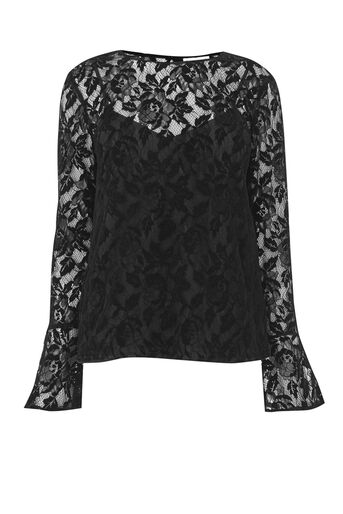 Warehouse, VELVET LACE TOP Black 0