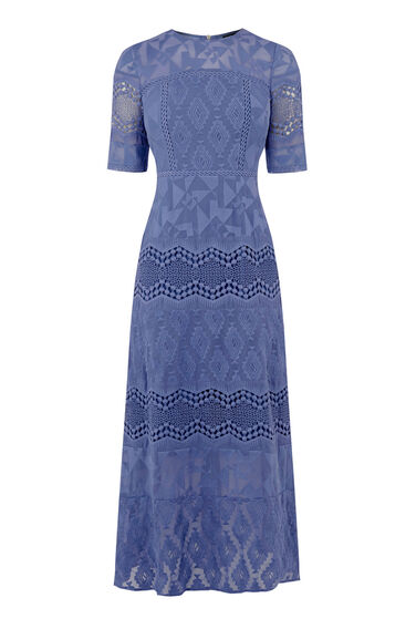 Warehouse, EMBROIDERED MIDI DRESS Bright Blue 0