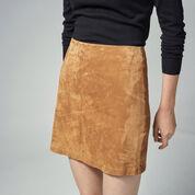 Warehouse, Suede Pelmet Skirt Brown 4