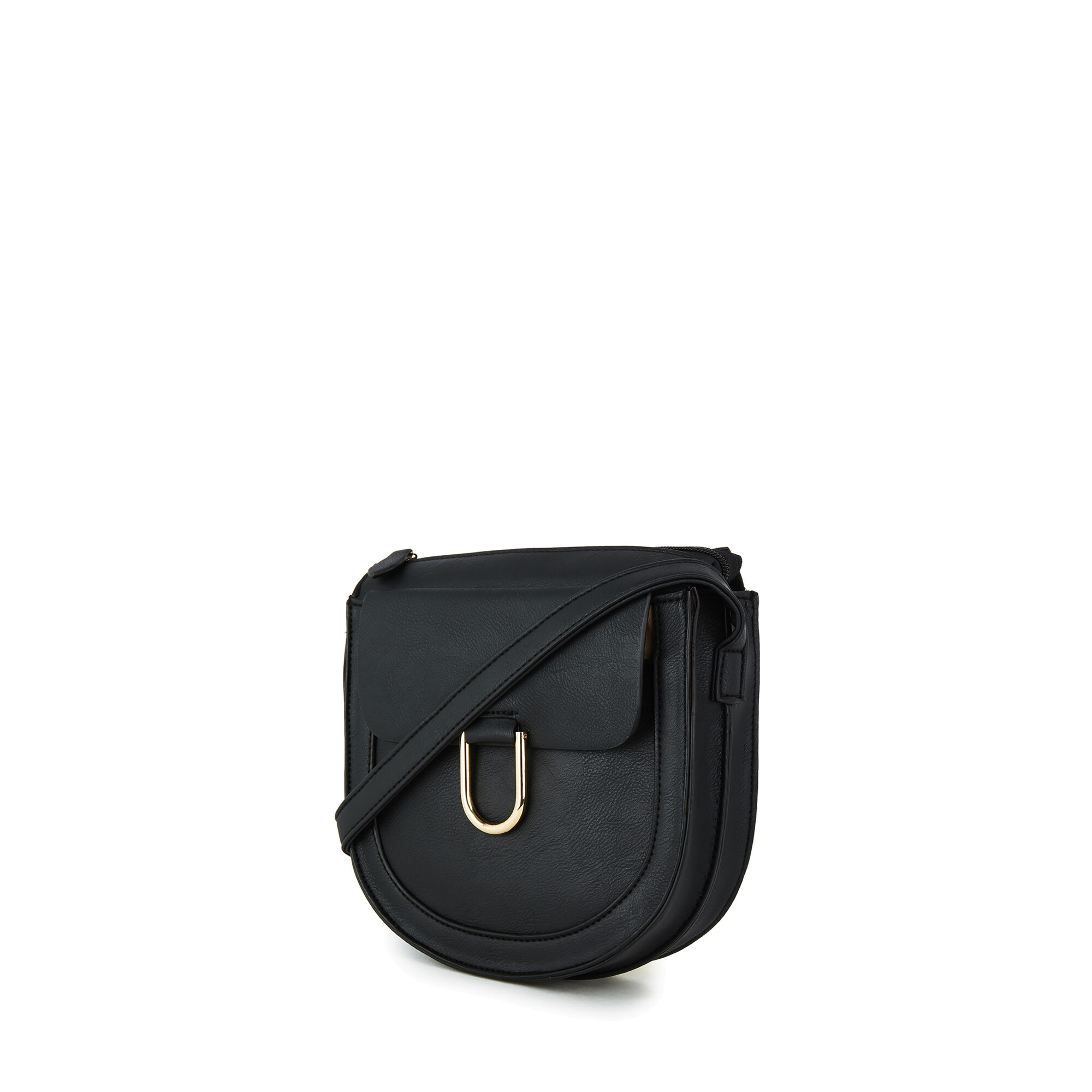 Warehouse, SMALL D RING SADDLE CROSSBODY Black 1