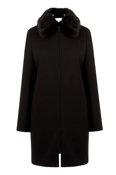 Warehouse, ZIP FRONT CREPE COAT Black 0