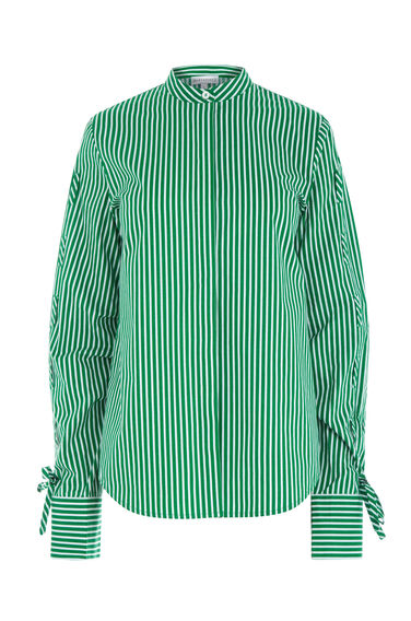 Warehouse, STRIPE RUCHED SLEEVE SHIRT Bright Green 0