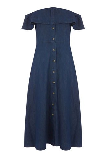 Warehouse, Bardot Ruffle Dress Mid Wash Denim 0