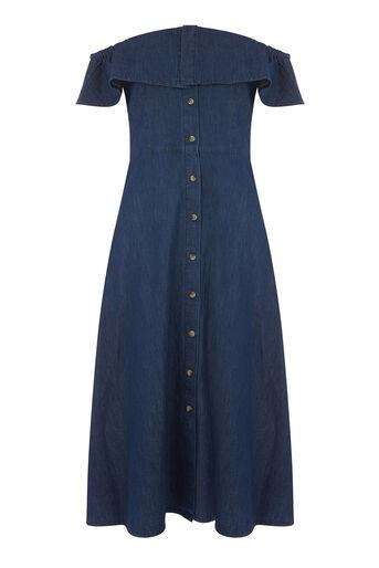 Warehouse, Bardot Ruffle Dress Mid Wash Denim 0