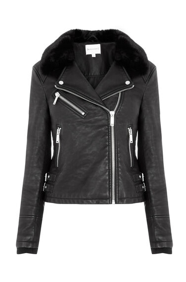 Warehouse, Faux Fur Collar Biker Black 0