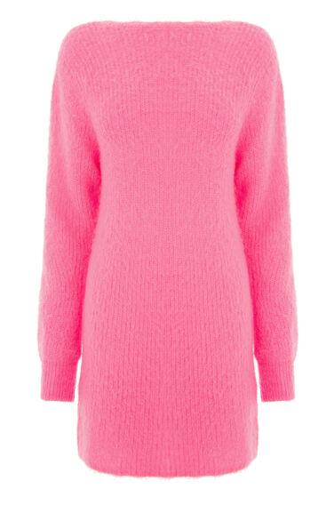 Warehouse, SCOOP BACK MOHAIR DRESS Bright Pink 0