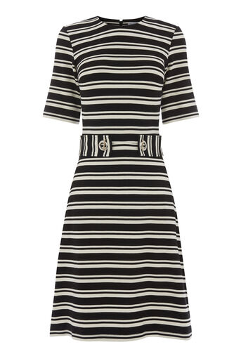Warehouse, CAVALRY STRIPE PONTE DRESS Black Stripe 0