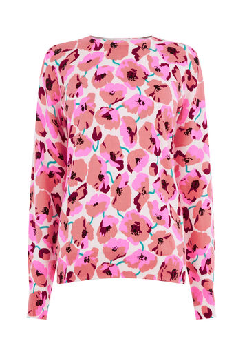 Warehouse, POPPY PRINT JUMPER Cream 0