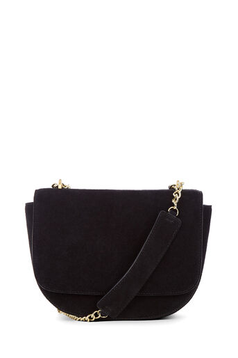 Warehouse, CHAIN DETAIL SUEDE SADDLE BAG Black 0