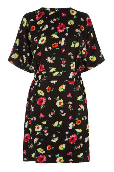 Warehouse, WOODSTOCK FLORAL SHIFT DRESS Black Pattern 0