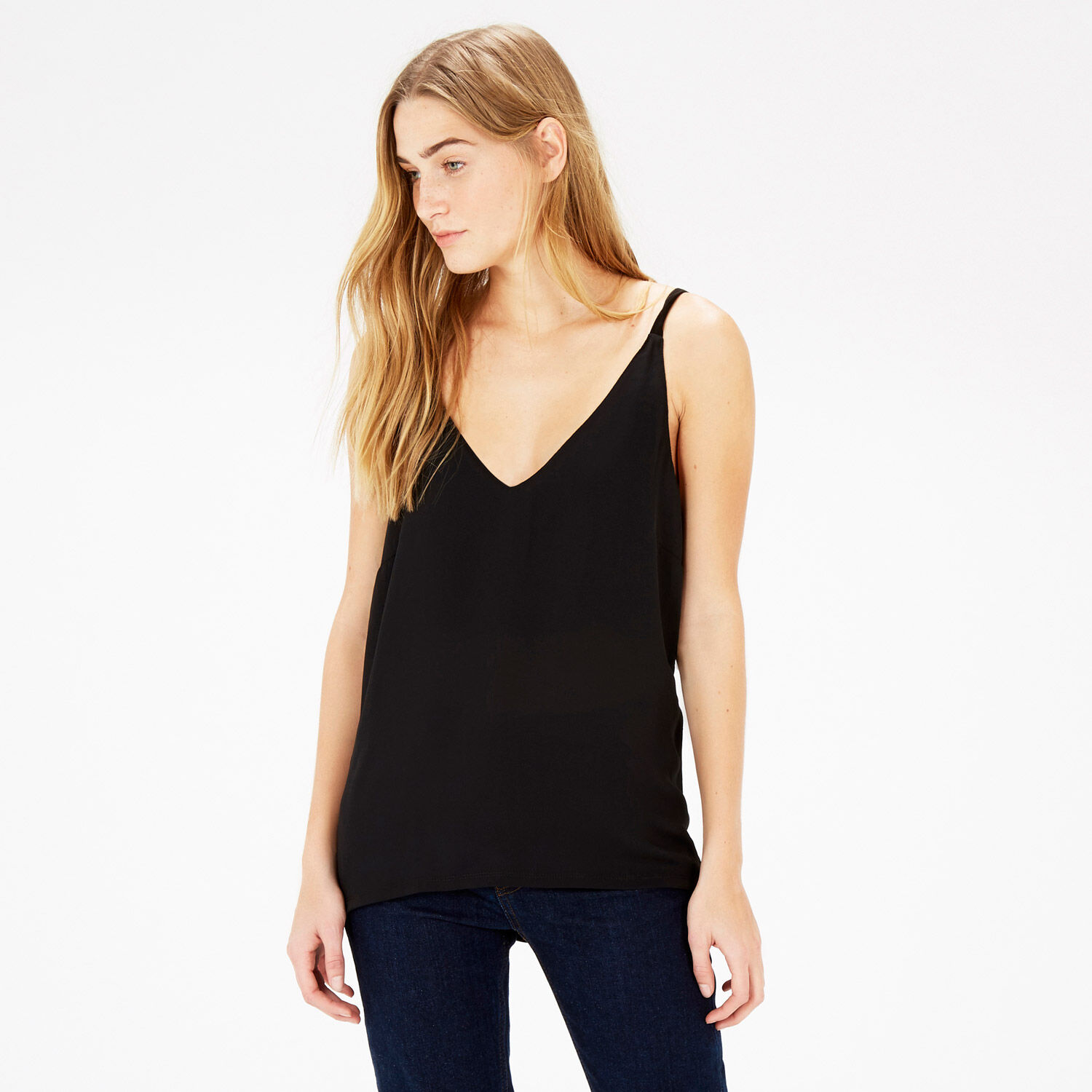 Warehouse, PLEAT BACK WOVEN FRONT CAMI Black 1