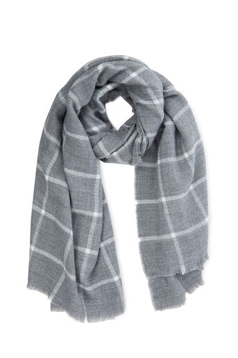 Warehouse, WINDOW PANE CHECKED SCARF Light Grey 0