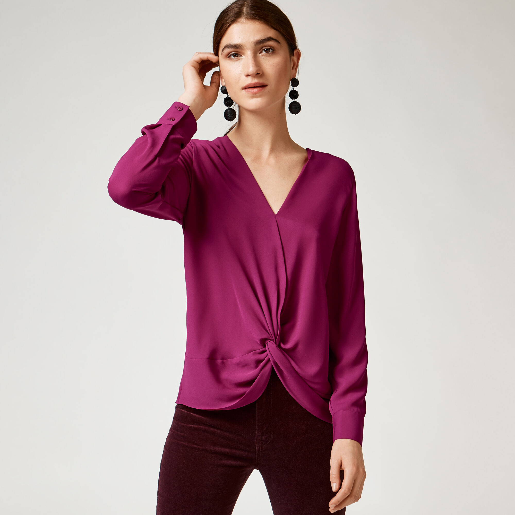 Warehouse, KNOT FRONT LONG SLEEVE TOP Raspberry 1