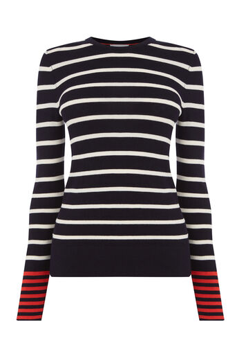 Warehouse, COLOURBLOCK STRIPE JUMPER Navy 0