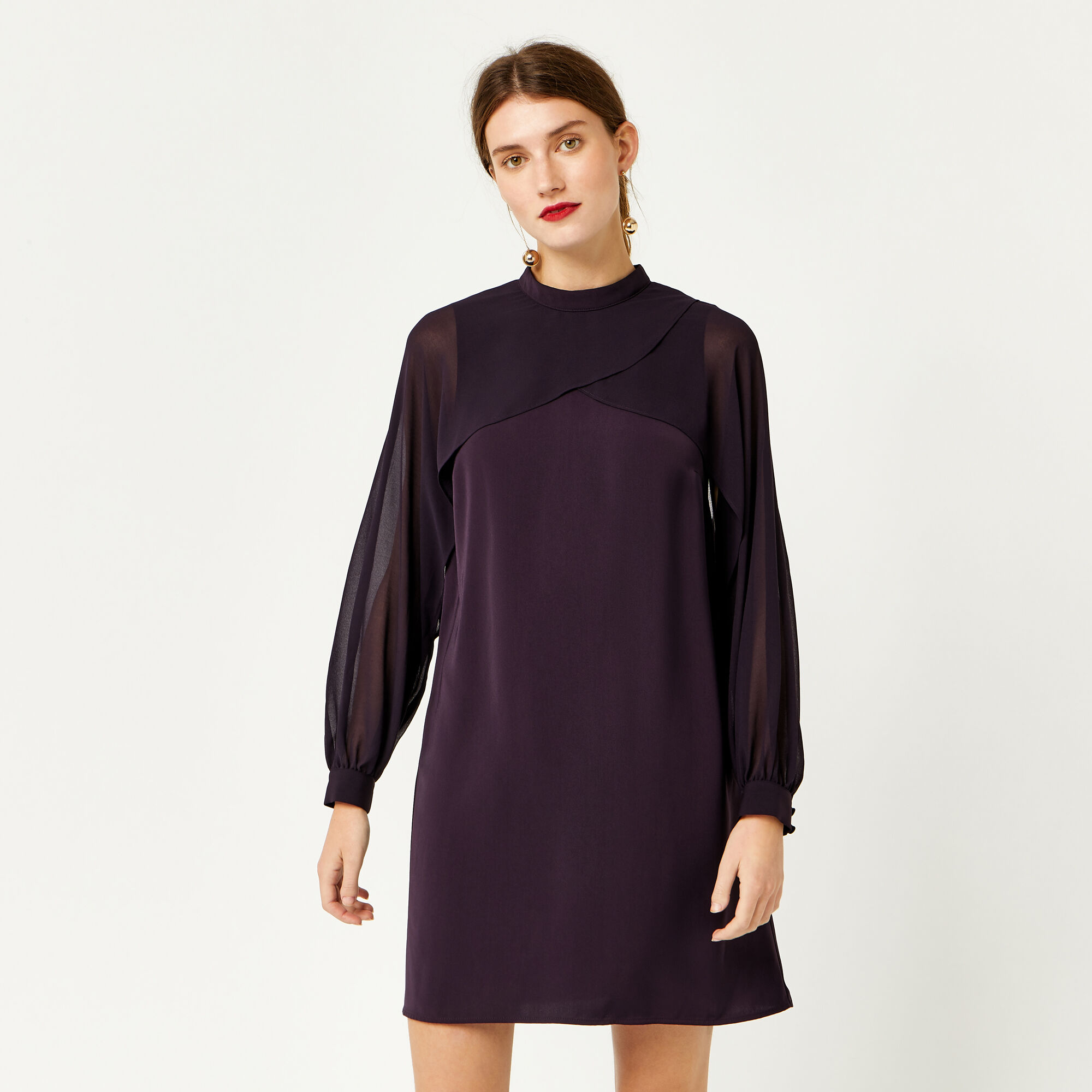 Warehouse, LAYERED CAPE DRESS Dark Purple 1
