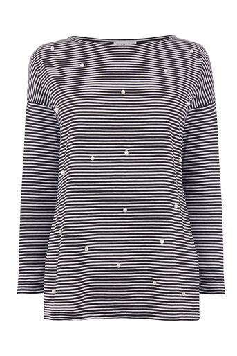 Warehouse, PEARL EMBELLISHED STRIPE TOP Black Stripe 0