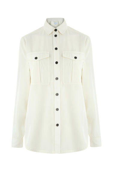 Warehouse, CASUAL UTILITY BLOUSE Cream 0
