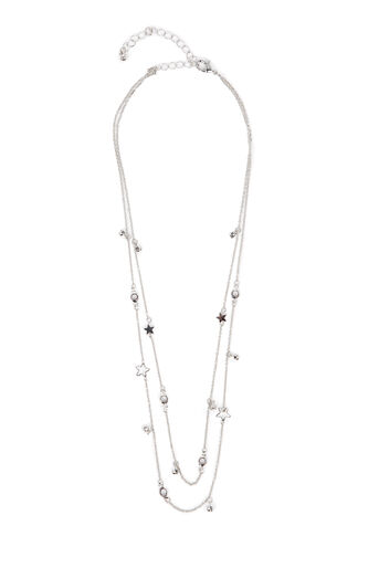 Warehouse, STONE STAR LAYERED NECKLACE Silver Colour 0