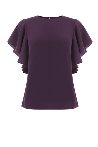 Warehouse, RUFFLE TOP Dark Purple 0